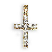 Jewelco London 18 Carat Yellow Gold 50pts Diamond Cross