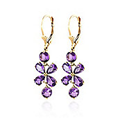 QP Jewellers 5.32ct Amethyst Blossom Bloom Earrings in 14K Gold