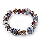 Purple/White Heart & Faceted Bead Flex Bracelet - 18cm Length