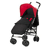 Obaby Atlas Black & Grey Stroller with Black Footmuff/Red Hood