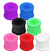 Urban Male Pack of Seven Flexible Silicone Ear Stretching Saddle Plugs Flared 6mm
