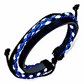 Urban Male Black Leather with Plaited Blue & White Strand Surfer Style Bracelet For Men
