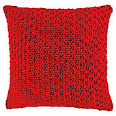 Loose Knit Cushion Red