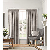 Fusion Flora Lined Pencil Pleat Curtains Dove Grey - 90x90