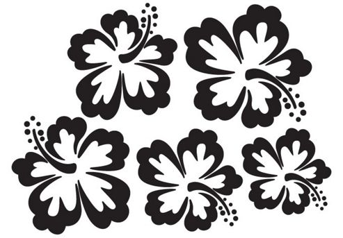 Set of 7 Hibiscus Wall Stickers, Black
