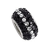 Jewelco London Rhodium-Coated Sterling Silver Black & White Crystal Bead Charm