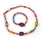 Children's Multicoloured Ladybug Wooden Flex Necklace & Flex Bracelet Set