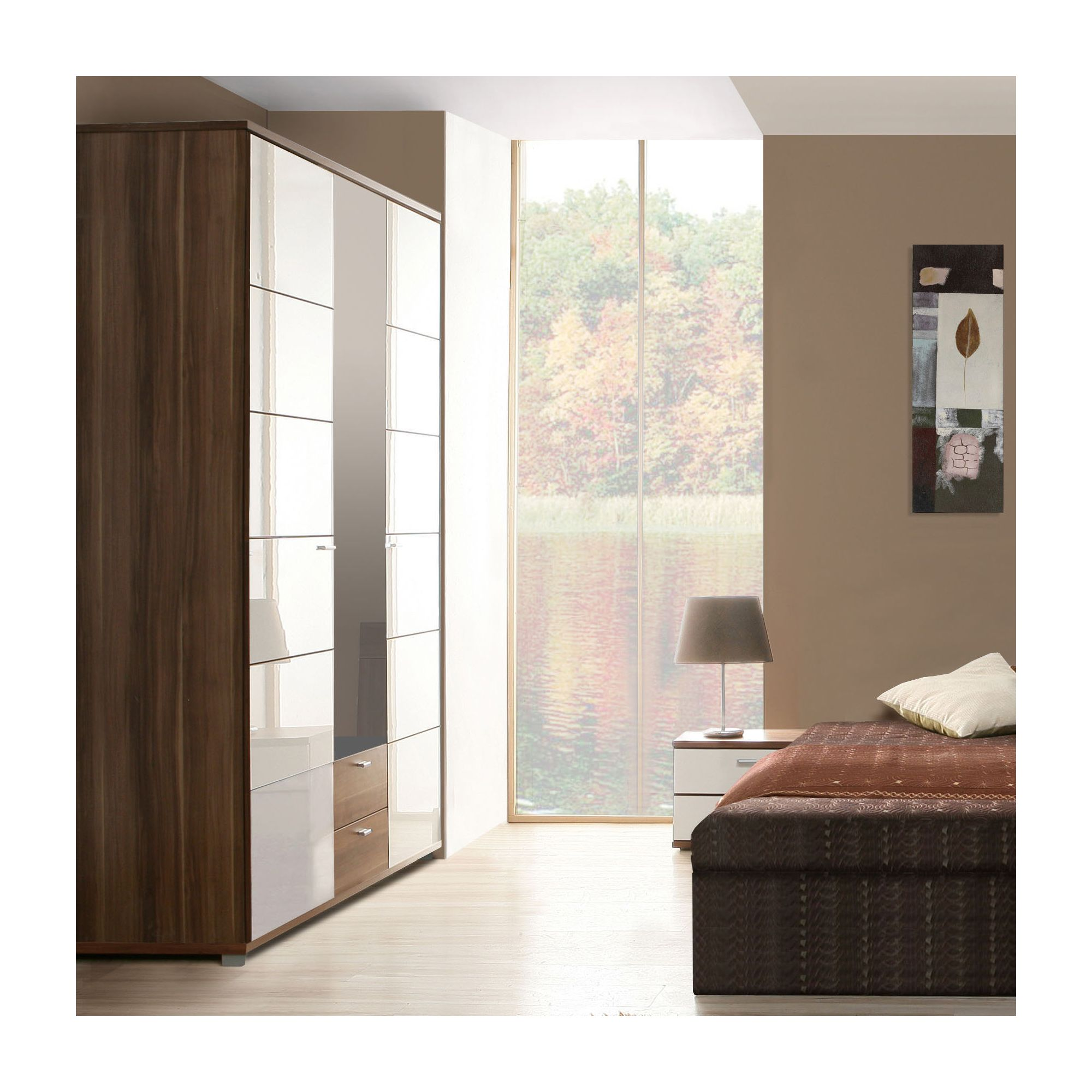 Ideal Furniture Anemone Triple Wardrobe with Mirror - Walnut White Gloss at Tesco Direct