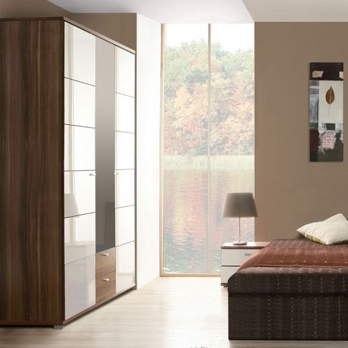 Ideal Furniture Anemone Triple Wardrobe with Mirror - Walnut White Gloss