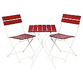 St Ives 3 Piece Bistro Set, Red & White