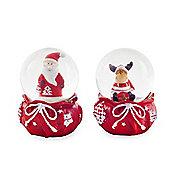Santa & Reindeer Festive Snow Globe Ornament Set