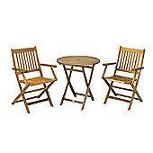 York Bistro Set - 70cm Round Table with 2 Manhattan Folding Armchairs