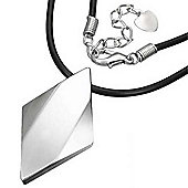 Urban Male Men's Solid Tungsten Diamond Shaped Pendant & Black Rubber Chain
