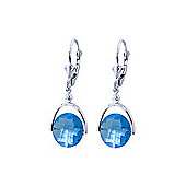 QP Jewellers 6.50ct Blue Topaz Sparkler Drop Earrings in 14K White Gold