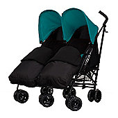 Obaby Apollo Black & Grey Twin Stroller with 2 Black Footmuffs, Turquoise
