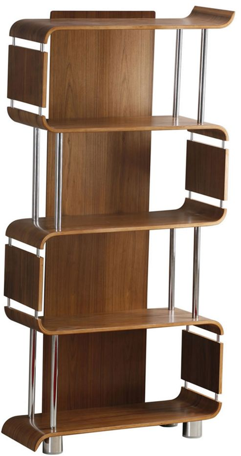 Jual Curve - Walnut Bookshelf with Chrome Supports