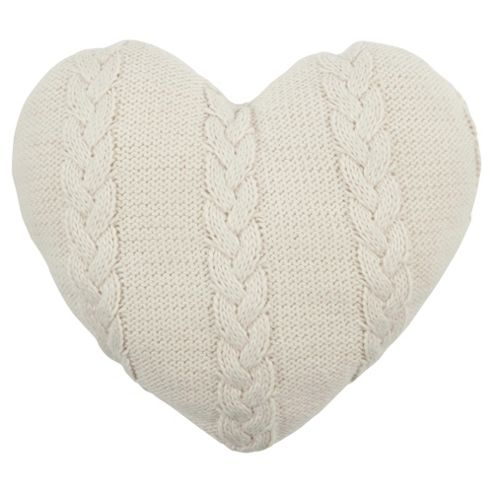 Cable Knit Heart Cushion - Cream