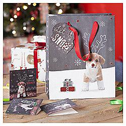 Cute Puppy Christmas Gift Bag, Medium
