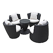 Bentley Garden Rattan Stacking 5 Piece Black Furniture Set