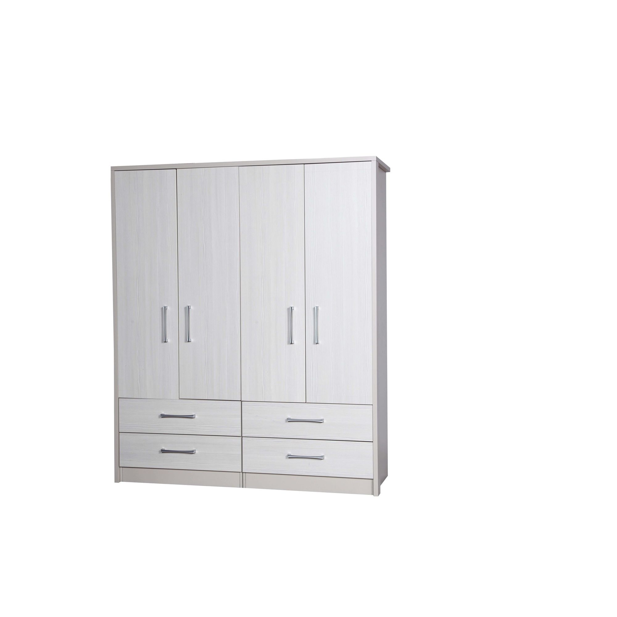 Alto Furniture Avola 4 Door Combi Wardrobe - Cream Carcass With White Avola at Tesco Direct