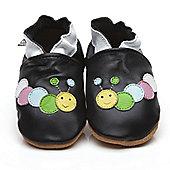 Cherry Kids Soft Leather Baby Shoes Caterpillar Black - Black