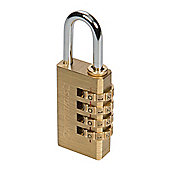 Silverline Combination Padlock Brass 4-digit