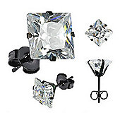 Urban Male Men's Black Stainless Steel Square CZ Set Stud Earrings 4mm