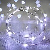 20 Micro White LED Battery Fairy Lights