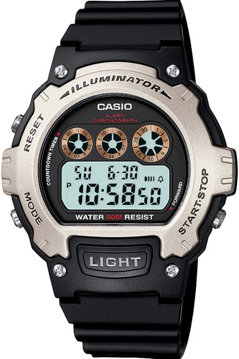 Casio Casio Collection Mens Resin Chronograph, Day & Date Watch W-214H-1AVEF
