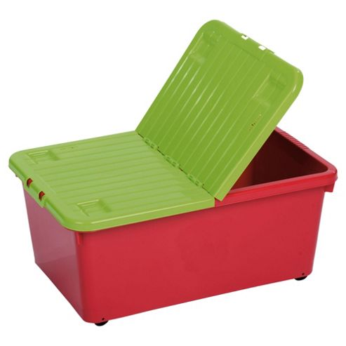 Wham 45 Litre Wheeled Box And Split Lid Raspberry/Lime