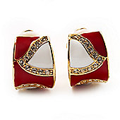 Small C-Shape 'Leaf' Red & White Enamel Diamante Clip On Earrings (Gold Tone)