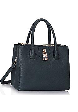 Dark Blue Three Zip Compartments Handbag Padlock Grab Bag