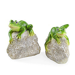 Leafy & Leroy the Pair of Frogs on Rocks Garden Ornament Set