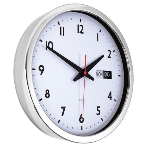 buy tesco chrome date wall clock from our clocks range tesco. Black Bedroom Furniture Sets. Home Design Ideas