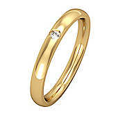 Jewelco London 9ct Yellow Gold - Diamond - 2.5mm Essential Court-Shaped Set with a Band Commitment / Wedding Ring -