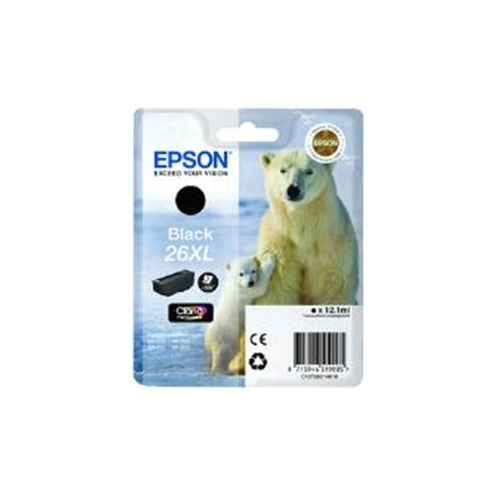 Epson Polar Bear 26XL Black Claria Premium Ink Cartridge (RF) for Expression Premium XP-600/XP-605/XP-700/XP-800 All-in-One Inkjet Printers
