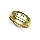 18ct Yellow Gold 6mm Court Diamond set 30pts Trilogy Wedding / Commitment Ring