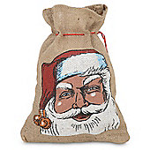 Small Hessian Draw String Father Christmas Santa Sack Gift Bag