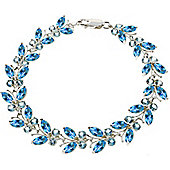 QP Jewellers 5.5in 16.50ct Blue Topaz Butterfly Bracelet in 14K White Gold