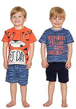 F&F 2 Pack of Tiger Shorts Pyjamas - Orange & Blue