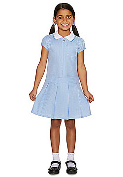 F&F School Girls Gingham Zip Dress with Scrunchie - Blue