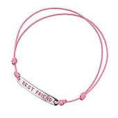 Best Friend Pink Cord Silver ID Bracelet