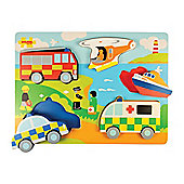 Bigjigs Toys BJ330 Chunky Lift Out Emergency Services Puzzle