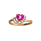 QP Jewellers Diamond & Pink Topaz Passion Heart Ring in 14K Rose Gold