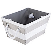 Stripe Storage Basket, Grey & White