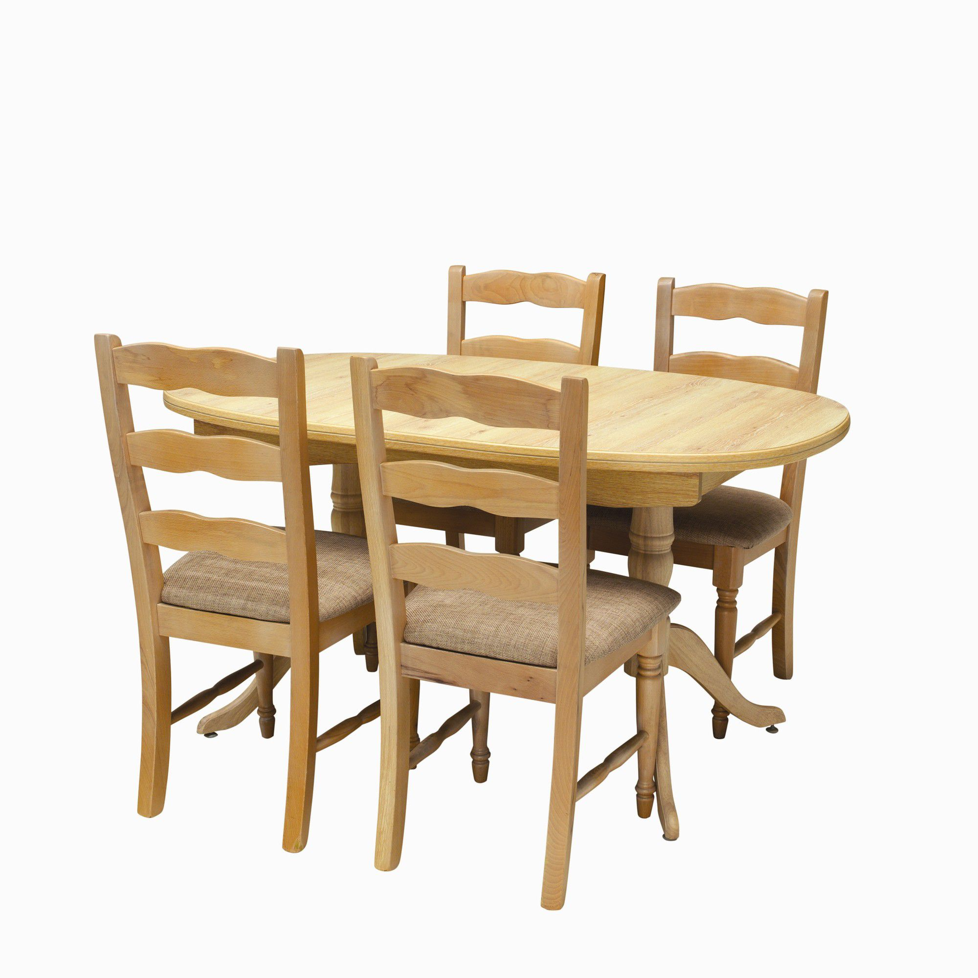Caxton Driftwood Extending Dining Set with 4 Ladder Back Chairs in Limed Oak at Tesco Direct