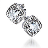 REAL Effect Rhodium Plated Sterling Silver White Cubic Zirconia Square, Raised Large Ctr Charm Earrings