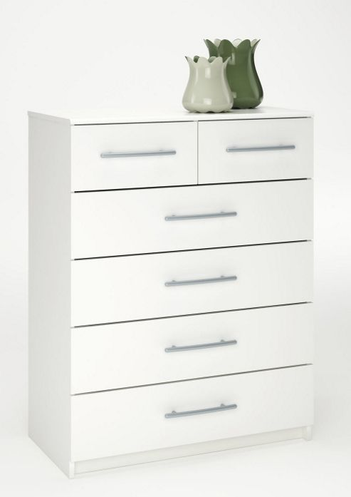 Altruna Washington 2 Over 4 Drawer Chest - White