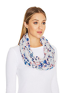 F&F Butterfly Floral Print Tube Scarf - Pink & Blue