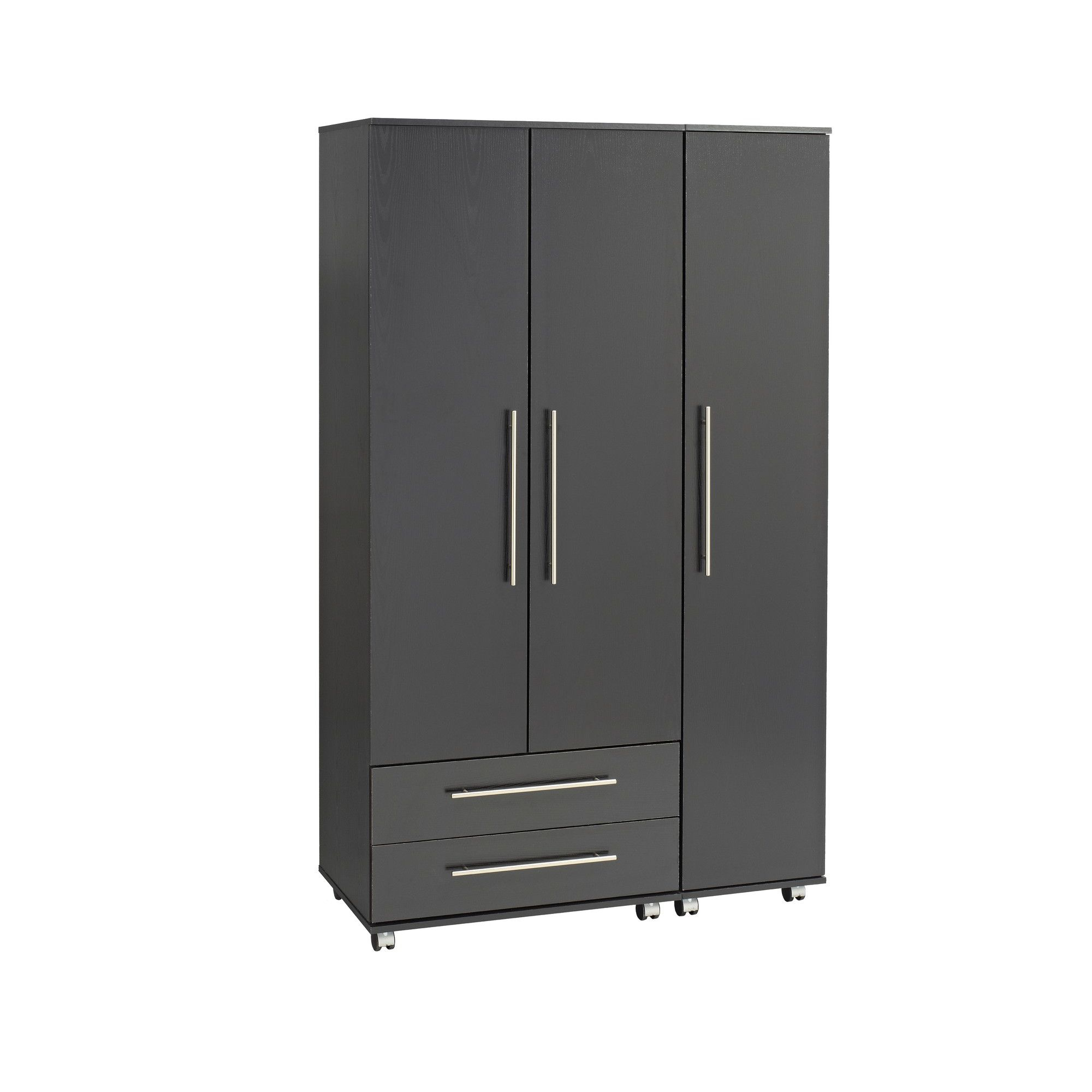 Ideal Furniture Bobby 3 Door Wardrobe - Black at Tesco Direct